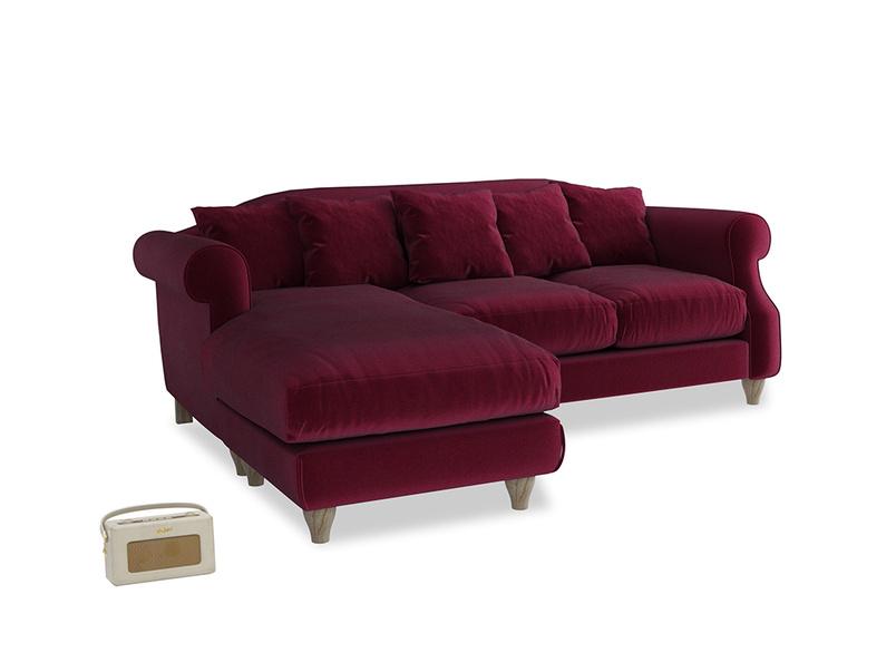Large left hand Sloucher Chaise Sofa in Merlot Clever Deep Velvet