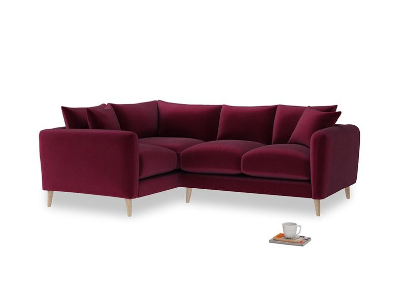 Large Left Hand Squishmeister Corner Sofa in Merlot Clever Deep Velvet