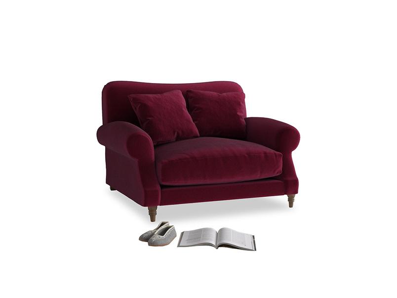 Crumpet Love seat in Merlot Clever Deep Velvet