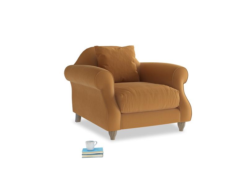 Sloucher Armchair in Caramel Clever Deep Velvet