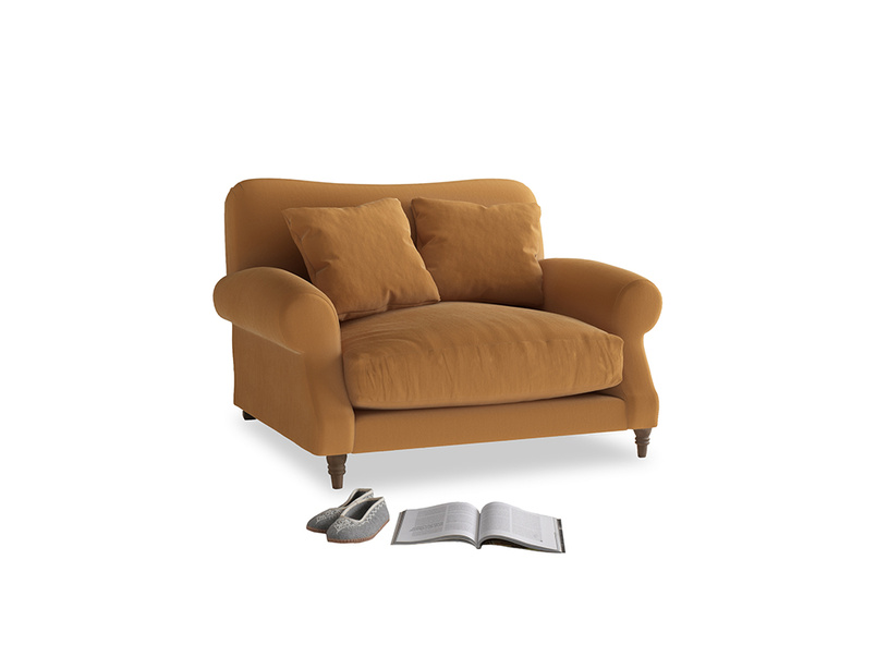 Crumpet Love seat in Caramel Clever Deep Velvet