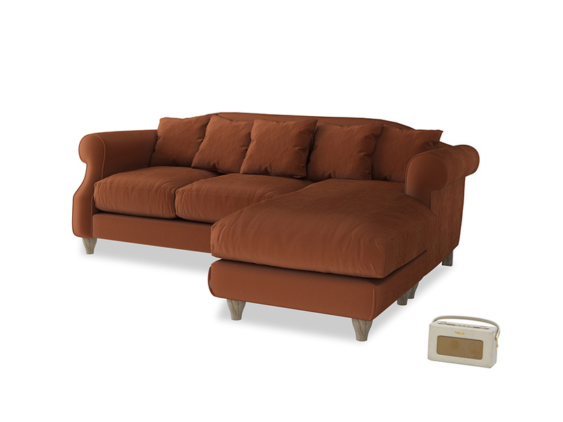 Large right hand Sloucher Chaise Sofa in Praline Clever Deep Velvet