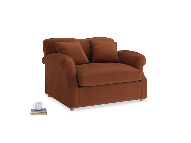Crumpet Love Seat Sofa Bed in Praline Clever Deep Velvet