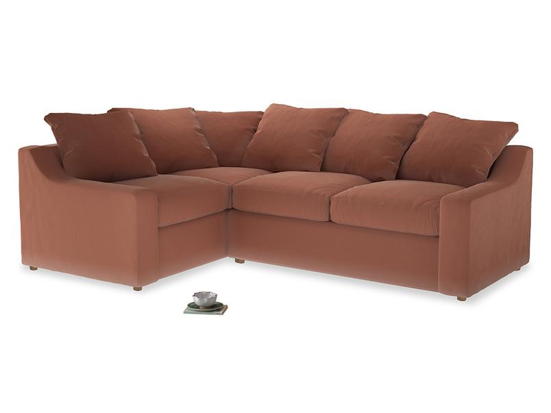 Large Left Hand Cloud Corner Sofa in Pinky Peanut Clever Deep Velvet