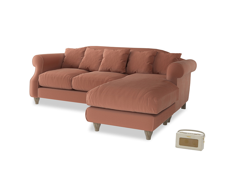 Large right hand Sloucher Chaise Sofa in Pinky Peanut Clever Deep Velvet
