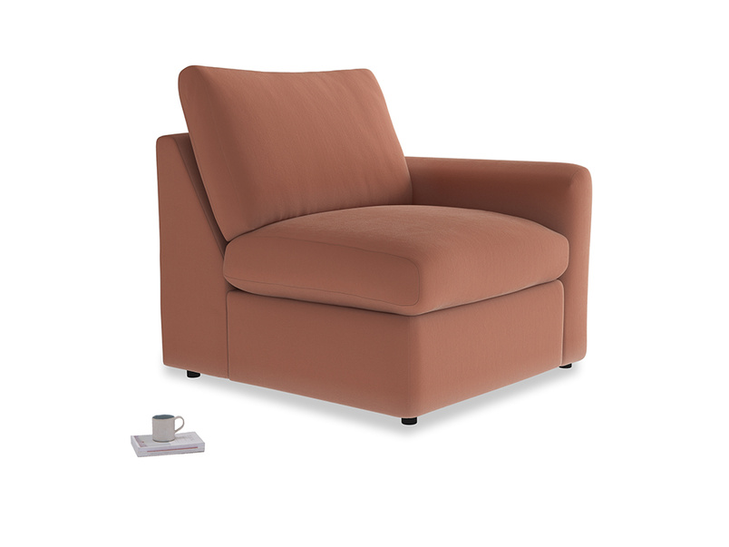 Chatnap Storage Single Seat in Pinky Peanut Clever Deep Velvet with a right arm