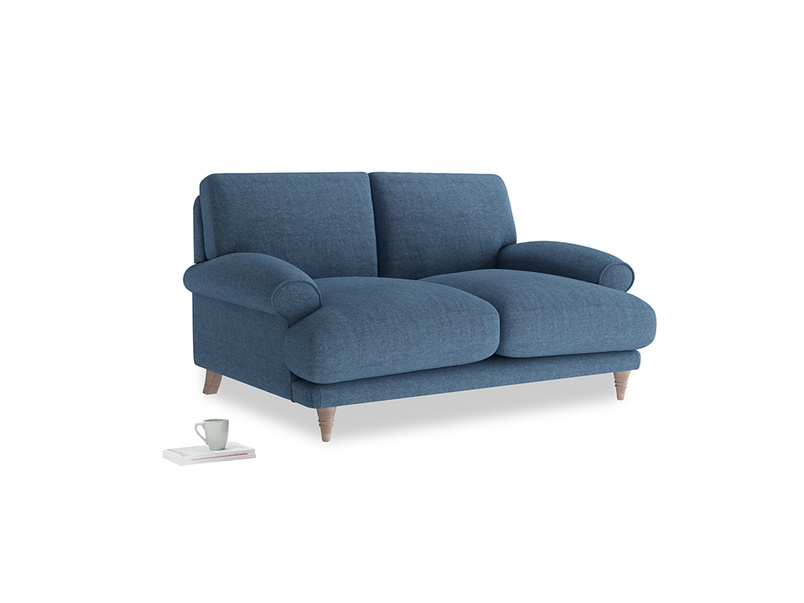 Small Slowcoach Sofa in Inky Blue Vintage Linen