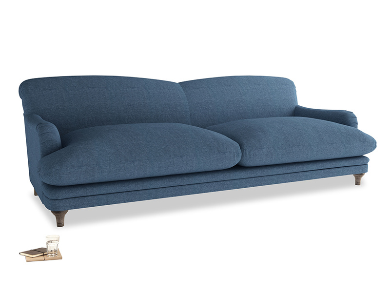 Extra large Pudding Sofa in Inky Blue Vintage Linen