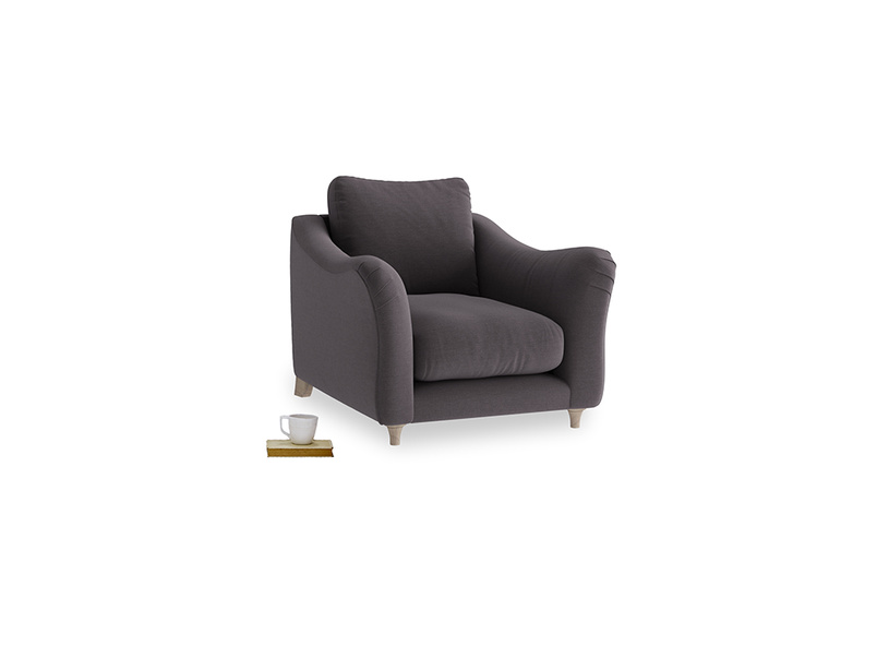 Bumpster Armchair in Faded Noir Vintage Linen