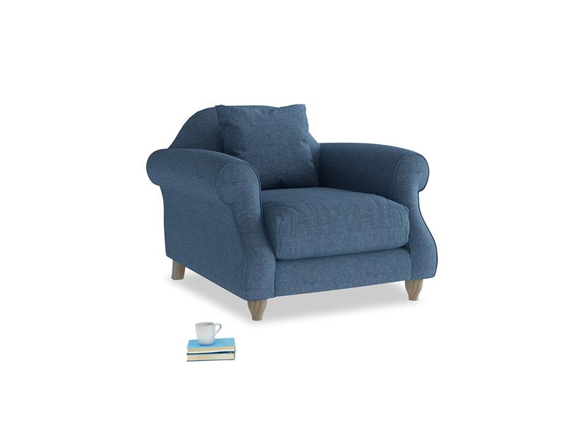 Sloucher Armchair in Inky Blue Vintage Linen