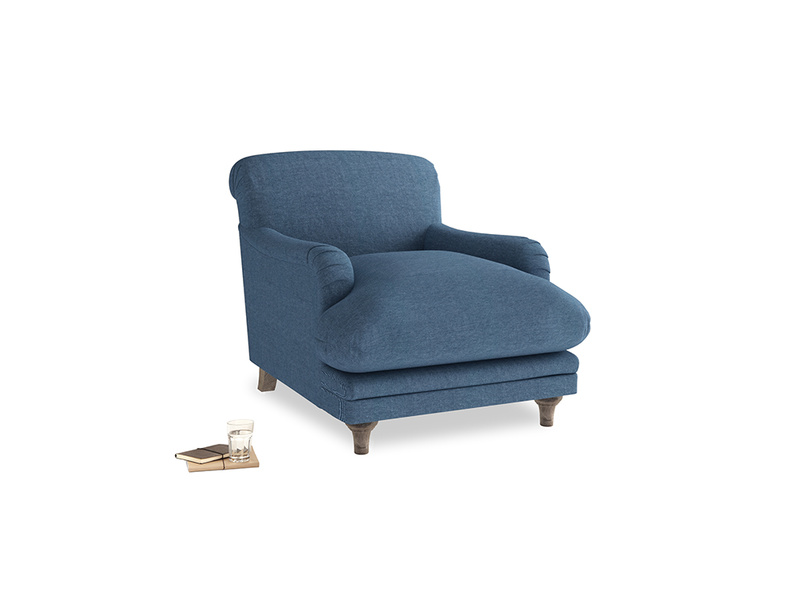Pudding Armchair in Inky Blue Vintage Linen