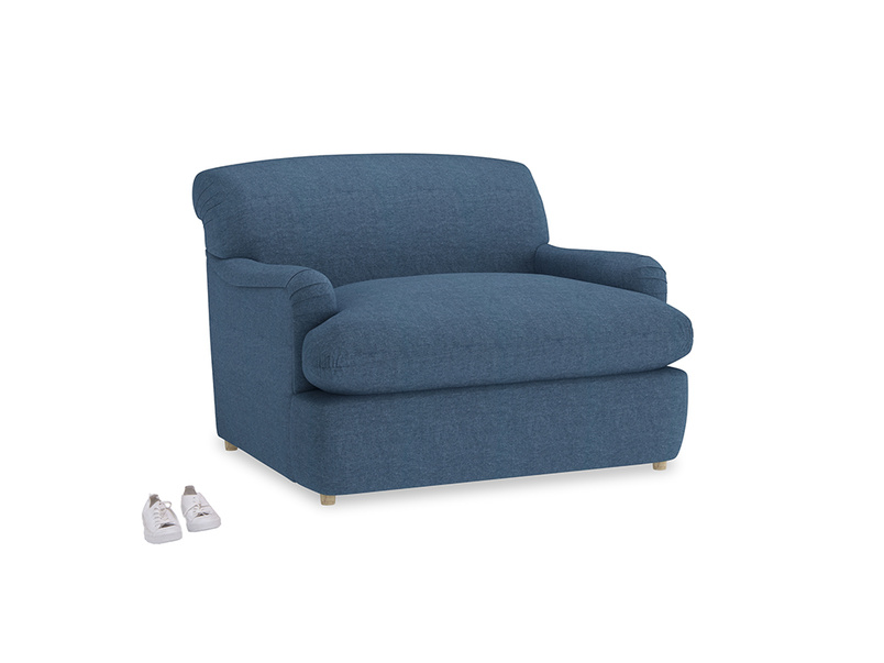Pudding Love Seat Sofa Bed in Inky Blue Vintage Linen