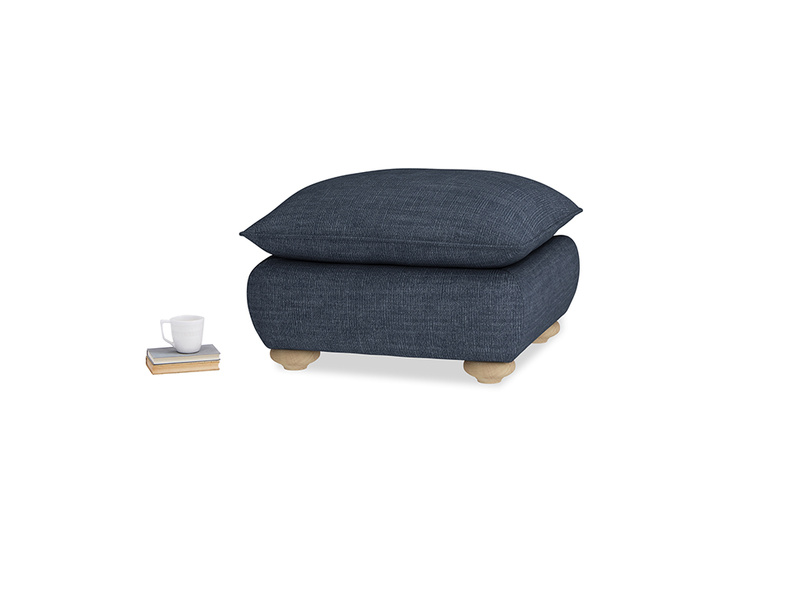 Small Square Munch Footstool in Selvedge Blue Clever Laundered Linen