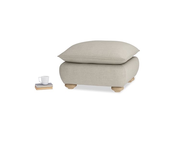 Small Square Munch Footstool in Thatch house fabric