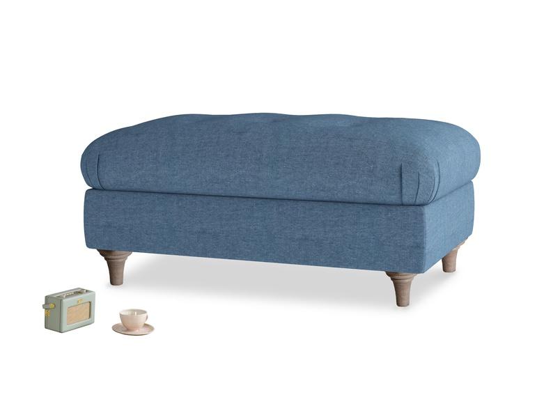 Rectangle Jammy Dodger Footstool in Inky Blue Vintage Linen