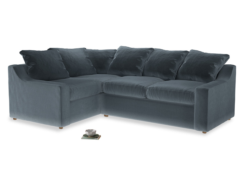 Large Left Hand Cloud Corner Sofa in Mermaid Vintage Velvet