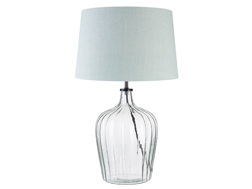 Medium Flute Table Lamp with a Duck Egg vintage linen Shade