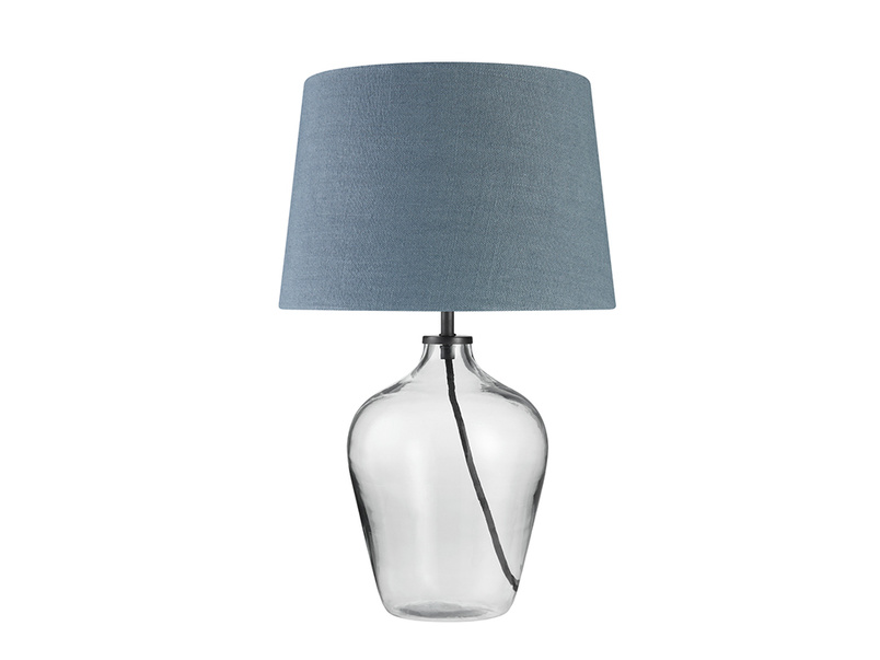 Small Flagon Table Lamp with a Inky Blue Vintage Linen Shade