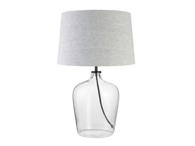 Medium Flagon Table Lamp with a Pebble vintage linen Shade