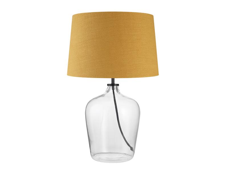 Medium Flagon Table Lamp with a Burnt Ochre Vintage Linen Shade