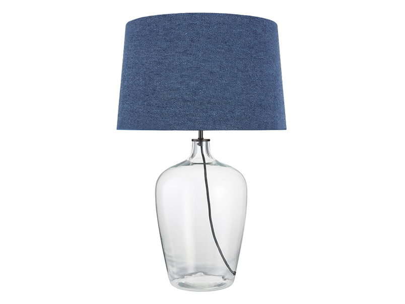 Large Flagon Table Lamp with a Inky Blue Vintage Linen Shade