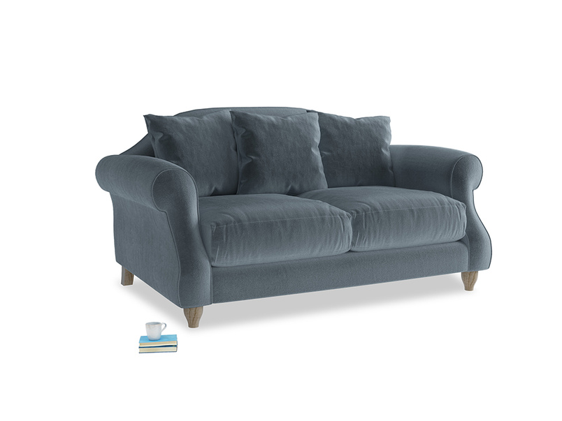 Small Sloucher Sofa in Mermaid Vintage Velvet
