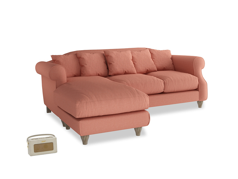 Large left hand Sloucher Chaise Sofa in Tawny Pink Brushed Cotton