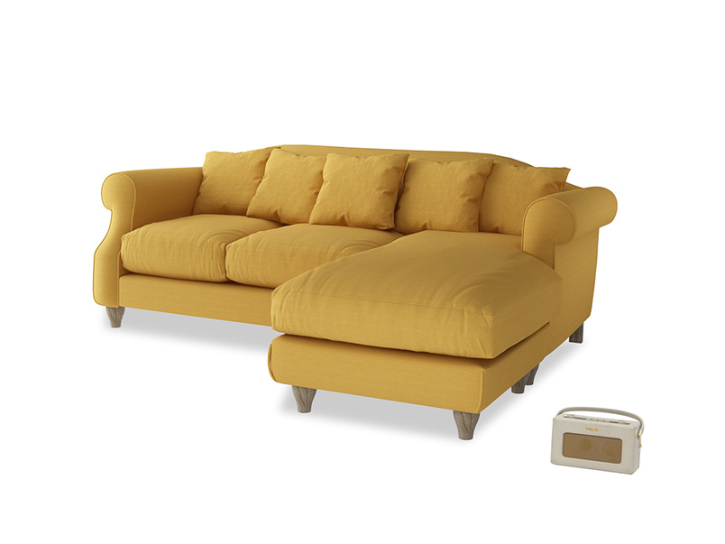 Large right hand Sloucher Chaise Sofa in Burnt Ochre Vintage Linen