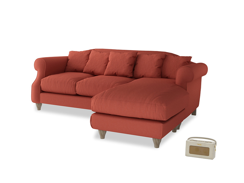 Large right hand Sloucher Chaise Sofa in Burnt Sienna Brushed Cotton