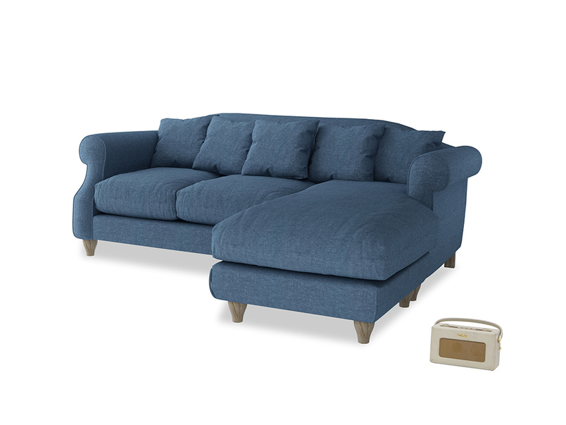 Large right hand Sloucher Chaise Sofa in Inky Blue Vintange Linen