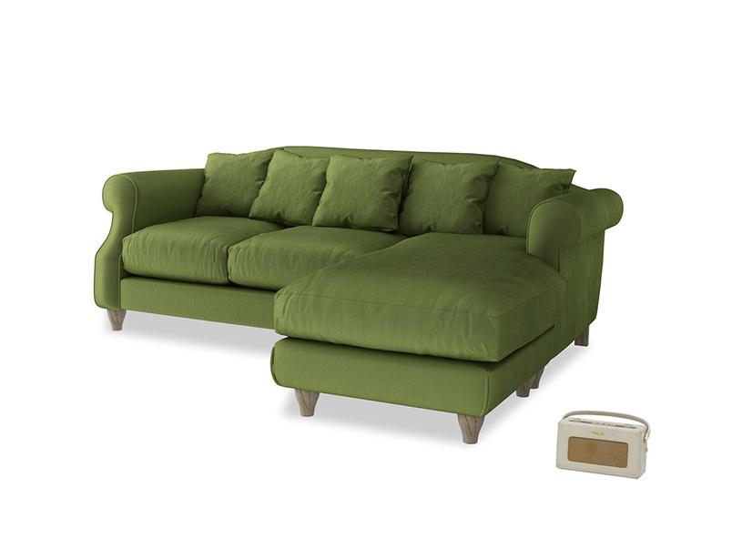 Large right hand Sloucher Chaise Sofa in Olive Vintage Velvet