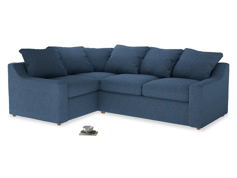 Large Left Hand Cloud Corner Sofa in Inky Blue Vintage Linen