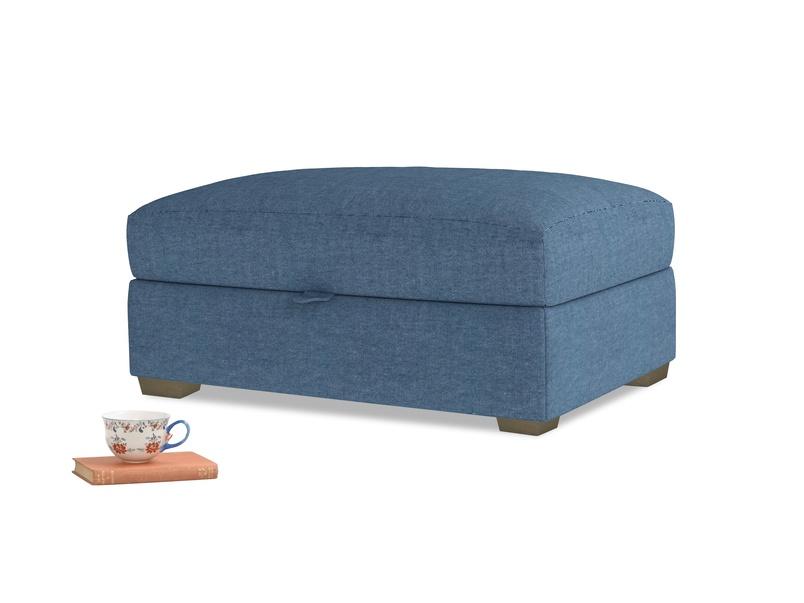 Bumper Storage Footstool in Inky Blue Vintage Linen