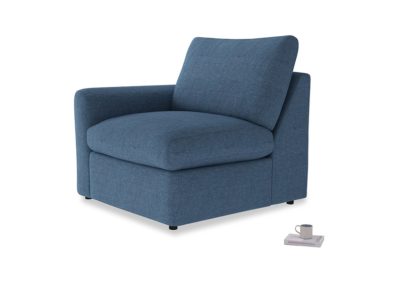 Chatnap Storage Single Seat in Inky Blue Vintage Linen with a left arm