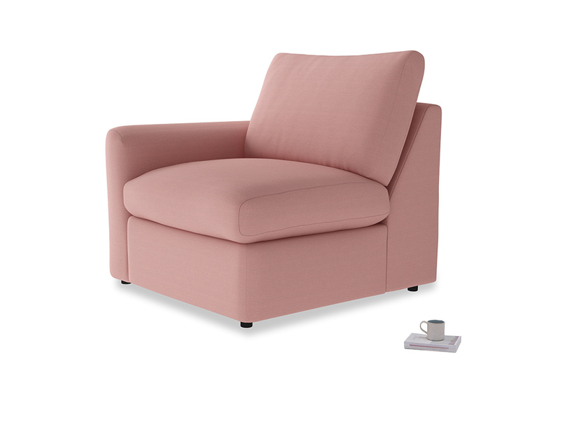 Chatnap Storage Single Seat in Dusty Pink Vintage Linen with a left arm