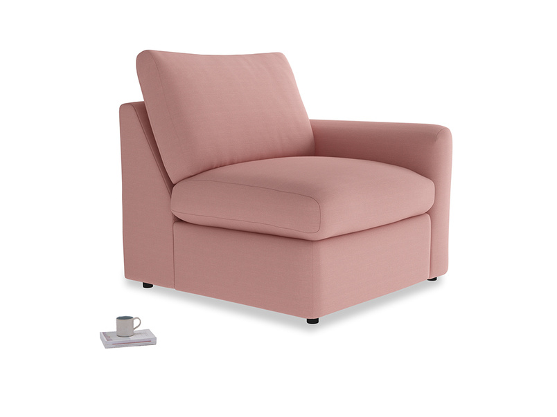 Chatnap Storage Single Seat in Dusty Pink Vintage Linen with a right arm