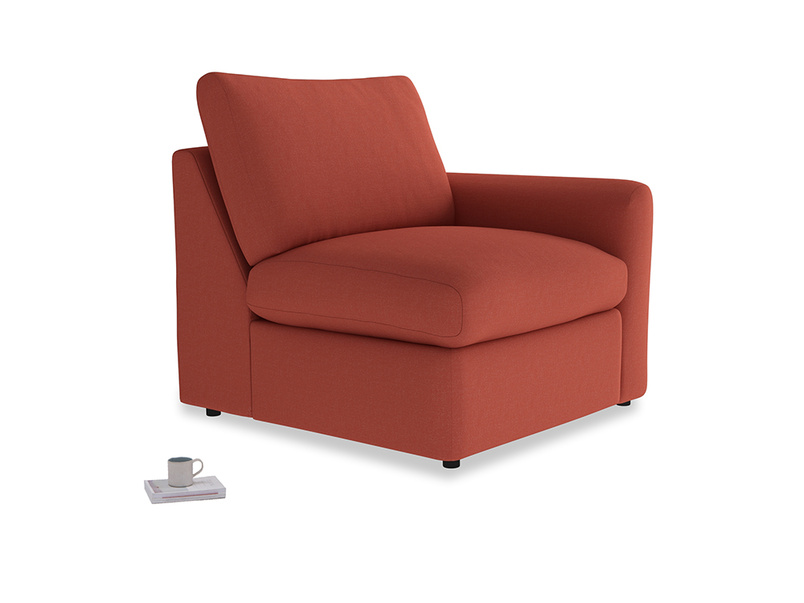 Chatnap Storage Single Seat in Burnt Sienna Brushed Cotton with a right arm