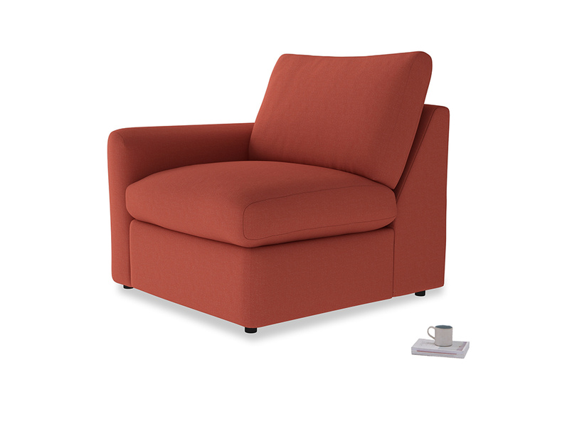 Chatnap Storage Single Seat in Burnt Sienna Brushed Cotton with a left arm