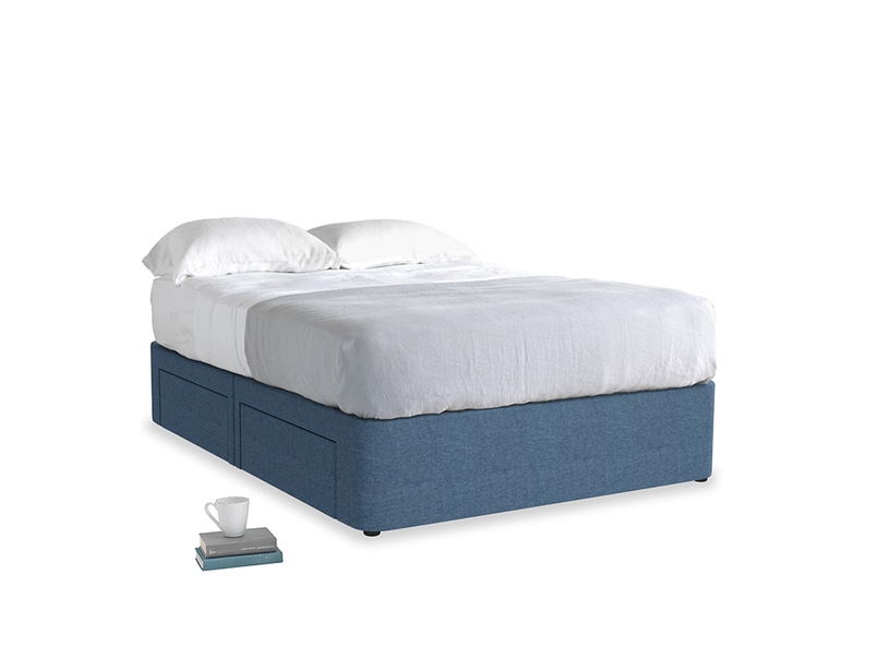 Double Tight Space Storage Bed in Inky Blue Vintage Linen