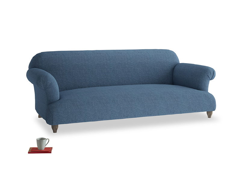Large Soufflé Sofa in Inky Blue Vintage Linen