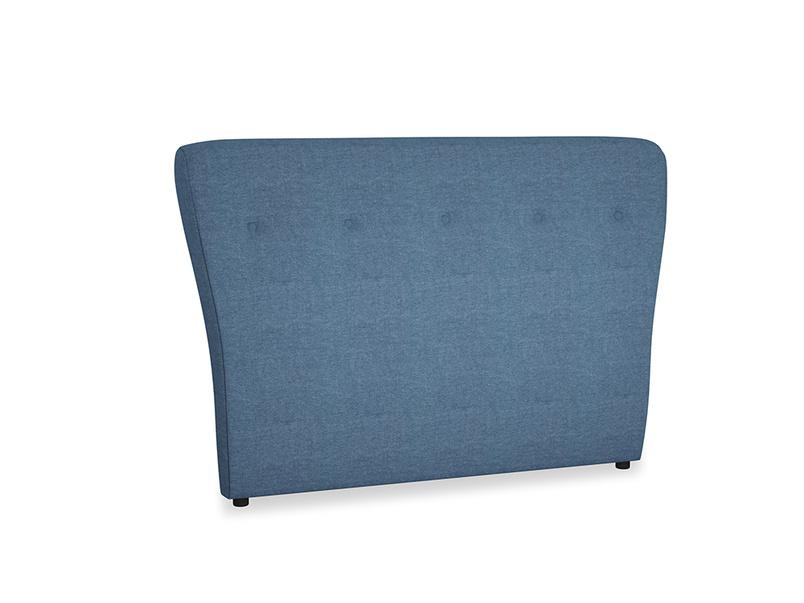 Double Smoke Headboard in Inky Blue Vintage Linen