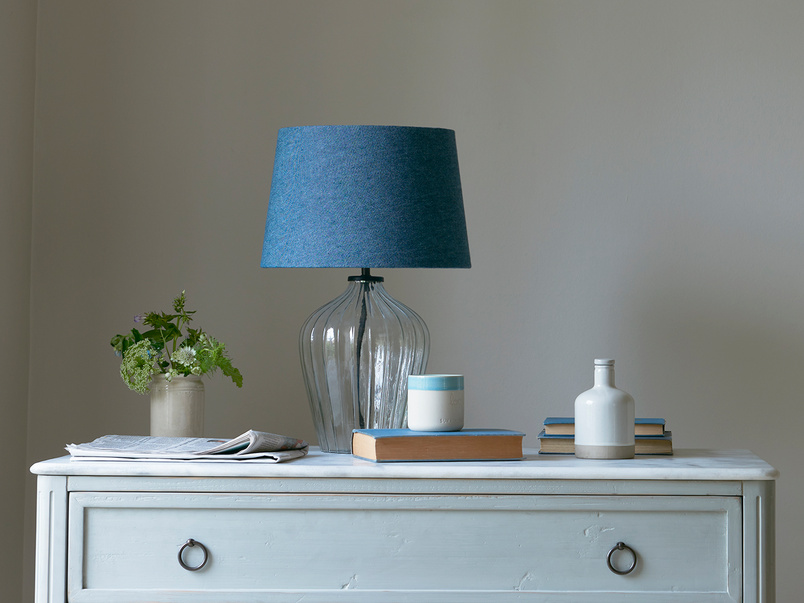 Small Flute table lamp with an Inky Blue vintage linen shade