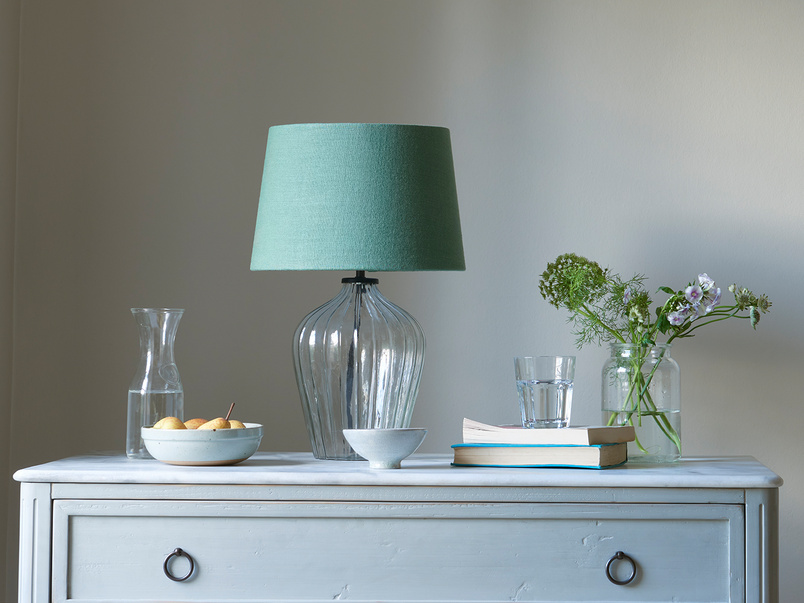 Small Flute table lamp with a Thyme Green vintage linen shade