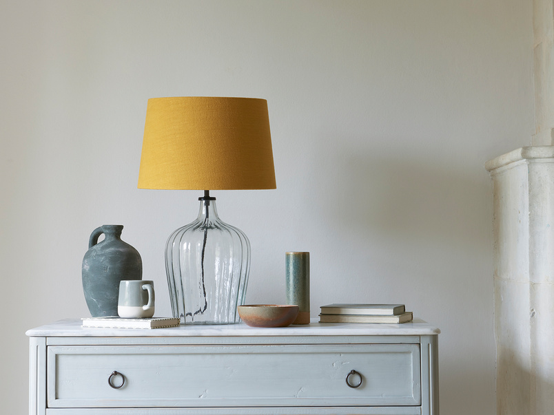 Medium Flute table lamp with a Burnt Ochre vintage linen shade