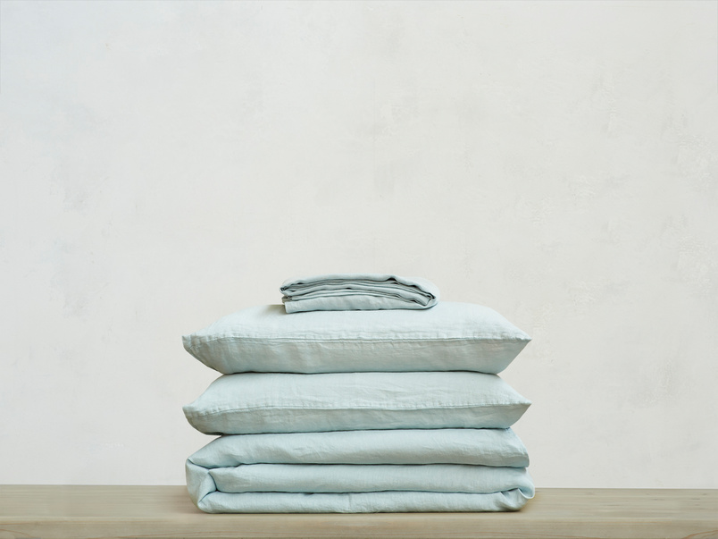 395218 lazy linen 100 percent linen breathable bed sheets bundle in duck egg