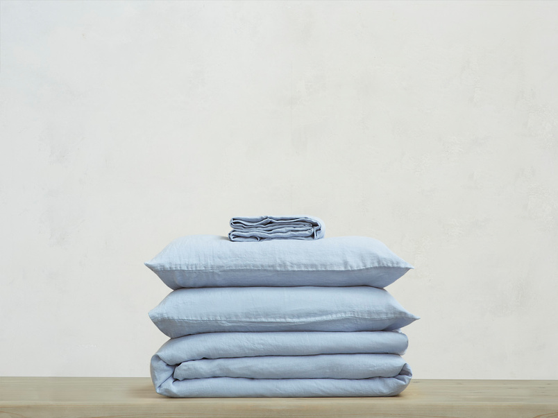 395217 lazy linen 100 percent linen breathable bed sheets bundle in cornflower blue
