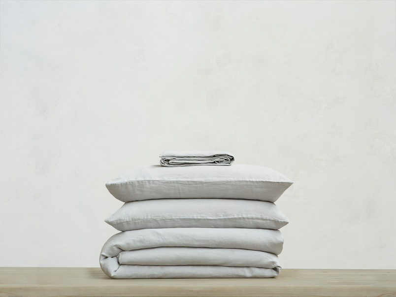 395220 lazy linen 100 percent linen breathable bed sheets bundle in light grey