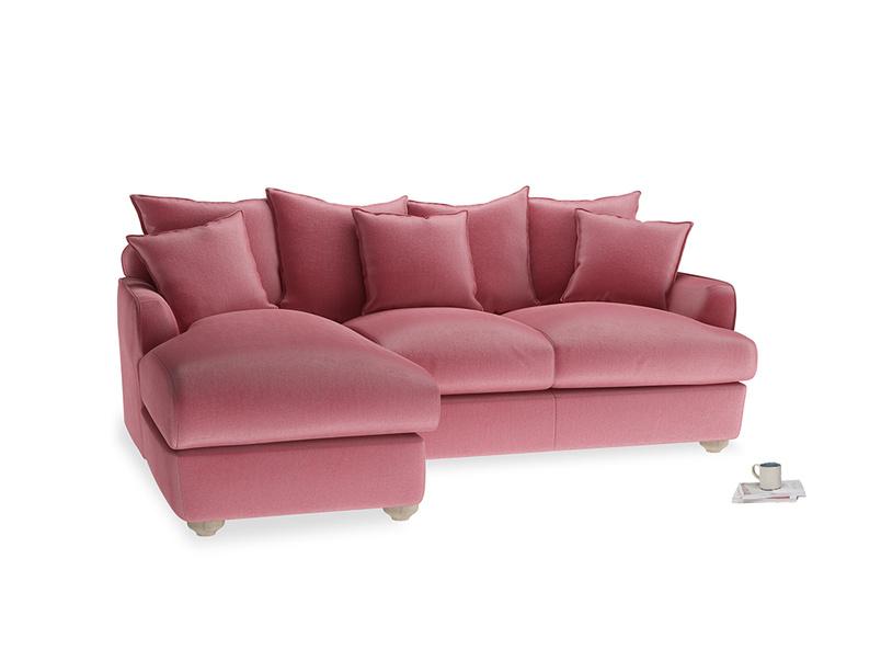 Large left hand Smooch Chaise Sofa in Blushed pink vintage velvet
