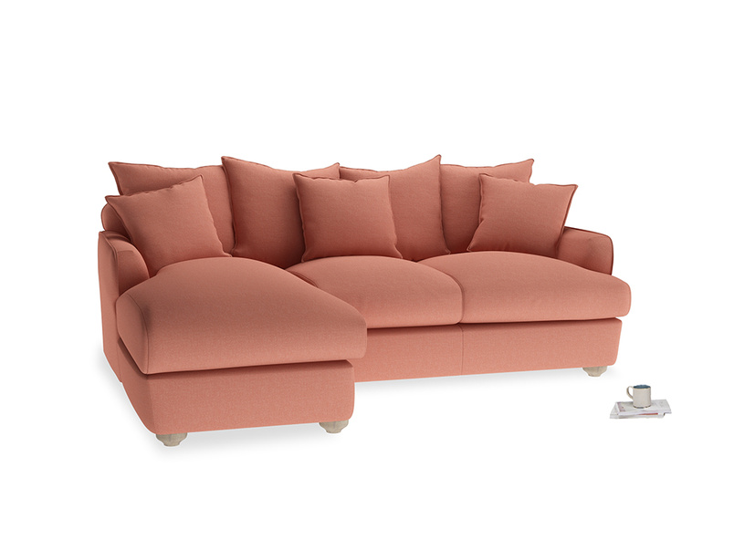 Large left hand Smooch Chaise Sofa in Tawny Pink Brushed Cotton