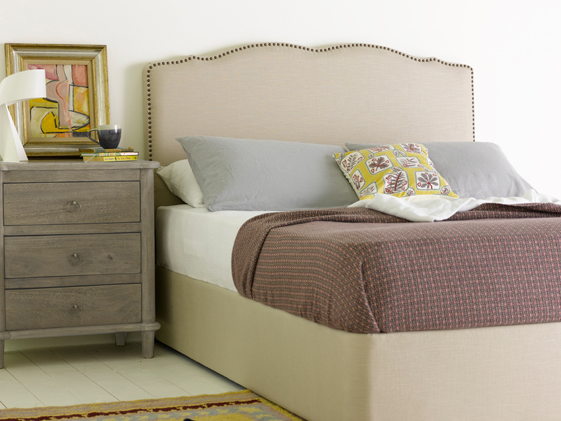 Curved French style Marie headboard with lovely upholstered stud detail